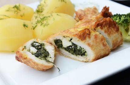 Kuřecí závitky se špenátem a sýrem Feta