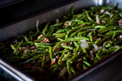 Zelené fazolky s anglickou slaninou